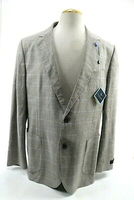 Tailorbyrd Collection NWT Men's Blazer Sport Coat Linen Cotton Sz 46L Khaki Tan