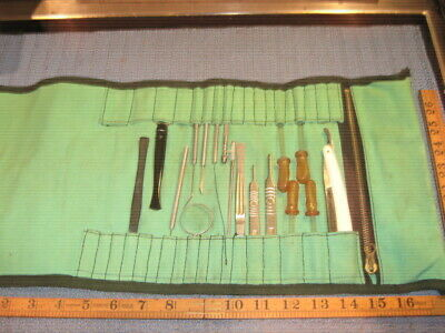 Vintage Scientific Disection Kit In Tool Roll School Science Microscope Slides