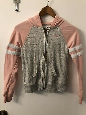 Girls Abercrombie Zip Up Pink And Grey Hoodie Size 13/14 PreOwned