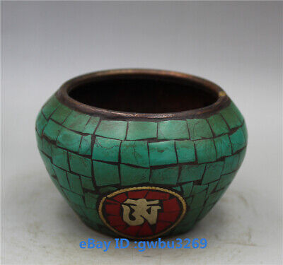 Collection Chinese old Brass Handwork Inlay Turquoise Pot - Pen wash