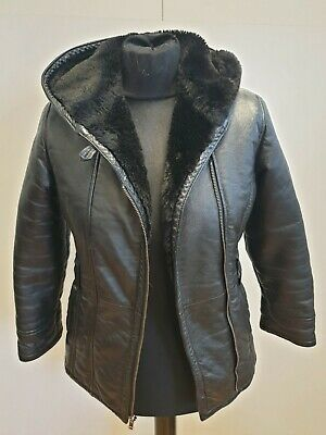 F553 Boys / Girls Wilsons Black Hooded Fleece Lined Leather Jacket Uk Age 13-14