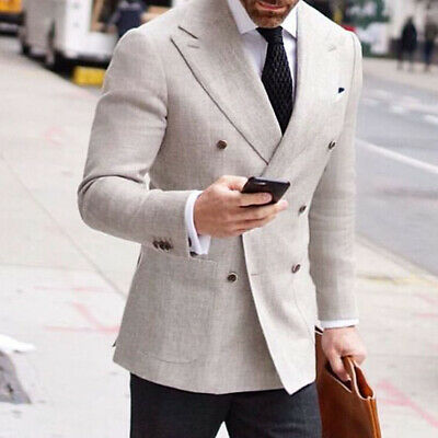 Double breasted Summer Linen Suit Men's Wide Peaked Lapel Groom Business Blazer
