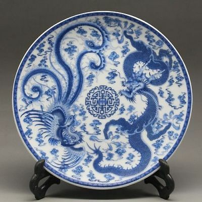 Chinese Blue and white Porcelain hand-painted dragon phoenix Plate Qianlong Mark