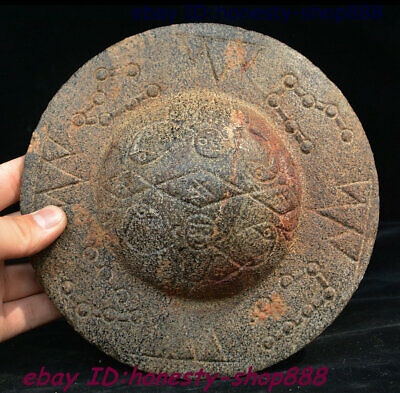 Old Antique Chinese Stone Jade Natural Black Magnet Hongshan Culture UFO Statue