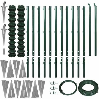 vidaXL Outdoor Chain-Link Fence Set Mesh with Spike Anchors 1.97x25 m Green