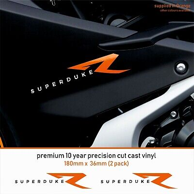 KTM SUPER DUKE R 10 Year Cast Vinyl Decals Stickers x 2-Premium 2 COLOUR
