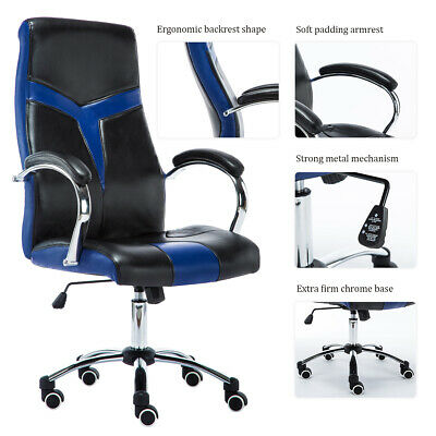 Executive Home Office Chair Adjustable  Swivel Gaming Racing Pu Leather Computer