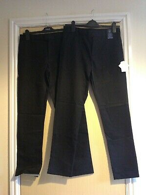 """Two pairs of black school trousers Unisex age 14 years leg 29""""/30"""" from next"""