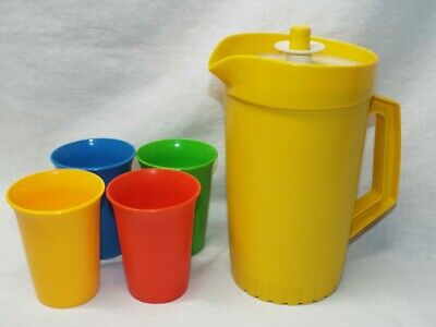 """Vintage TUPPERWARE Small 8"""" Yellow Pitcher 874-8 w/Lid 876-9 and 4 Matching Cups"""