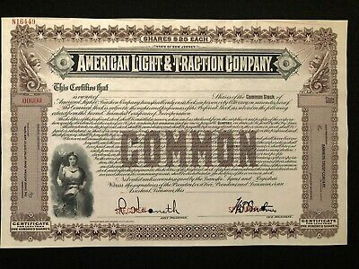 American Light & Traction Company Specimen Stock Certificate Rare 1900'S Energy