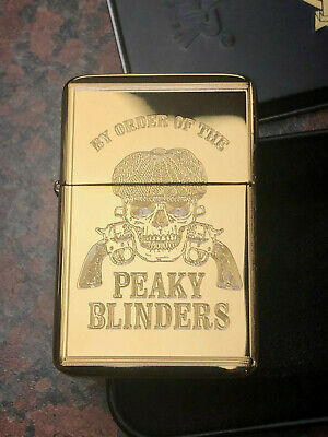PEAKY BLINDERS LIGHTER gold finish + Gift Box Birmingham tv show By Order SHELBY