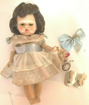 Vintage Ginny Doll Strung Vogue 1950's w Blue Panties,Dress, Shoes, & Hair Bow