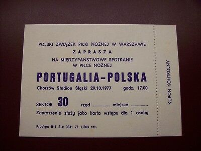 Ticket  Pologne - Portugal 29/10/1977