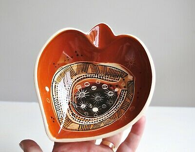 Vintage STUDIO ANNA Pottery Tri Footed Bowl/Ashtray ABORIGINAL Hand Painted