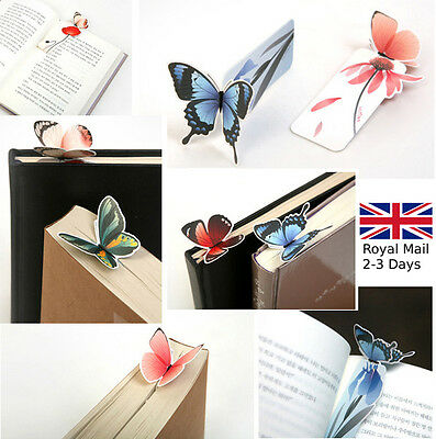 5 x Butterfly Shape Exquisite Floral Bookmarks Book Markers Gift For Readers