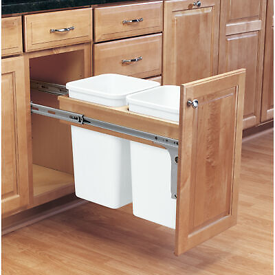 Rev-A-Shelf Double 27 Qt Pull Out Top Mount Trash Container, White (Open Box)