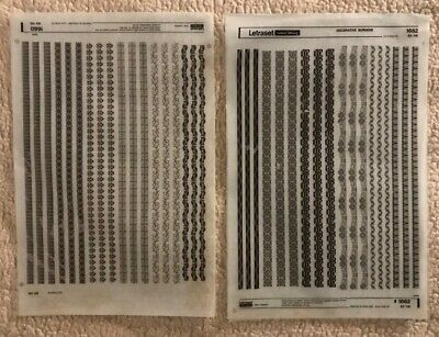 Two Letraset Dry Transfers Sheets 'Decorative Borders' 1660 & 1662 Black - 1972