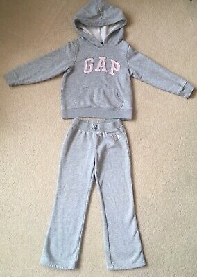 Baby GAP Tracksuit Set Top Bottoms Girls Size 5T Age 5-6 Years Grey Pink Hoodie