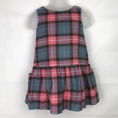 Mini Boden Girls Dress 4-5 Years Checkered Multi Pink Blue White with Pockets