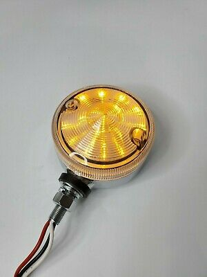 "3"" Amber LED Dual Function Pedestal/Rod Turn Signal Light - Marker w/ Clear Lens"