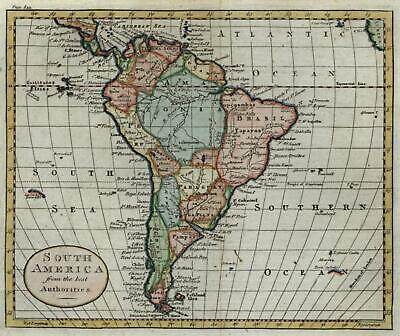 South American continent 1790 Kitchin lovely hand colored engraved map