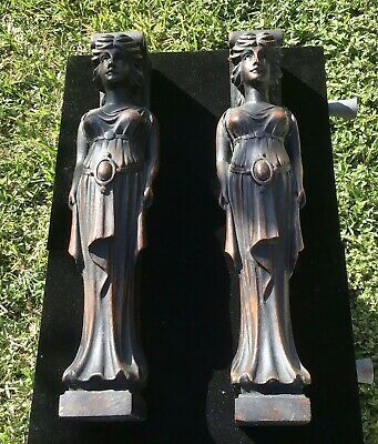 Antique Architectural Salvage Hand Carved Wood Corbel Women - Must See