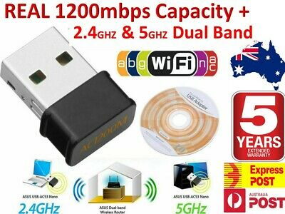 1200Mbps ULTRA FAST Wireless WiFi Network Receiver Adapter 5GHz Dual Band Dongle