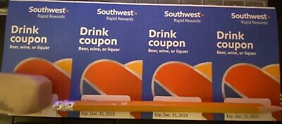 (x4) Southwest Airlines Coupons Drink  Voucher Exp 12/31/2019 Fast Shipping