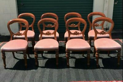 Lovely Set Of Eight Vintage Balloon Back Dining Chairs In Pink Velvet