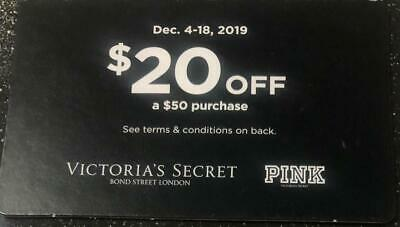 Victoria's Secret Pink Coupon Card $20 off $50 Purchase Valid Dec. 4-18,2019