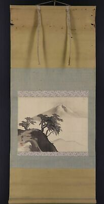 """JAPANESE HANGING SCROLL ART Painting Scenery """"Mt. Fuji"""" Asian antique  #E9761"""