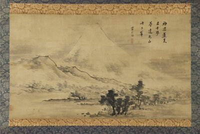"""JAPANESE HANGING SCROLL ART Painting Scenery """"Mt. Fuji"""" Asian antique  #E9758"""