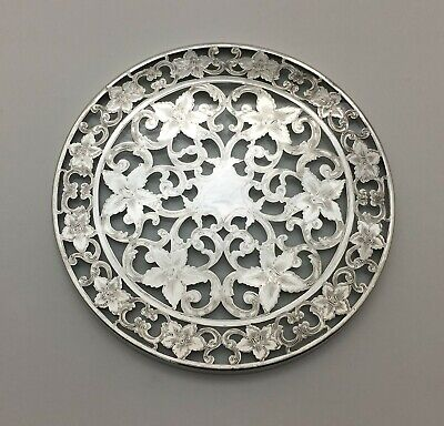 """Beautiful Webster Glass & Openwork Sterling Silver Overlay Trivet Tray 6"""""""
