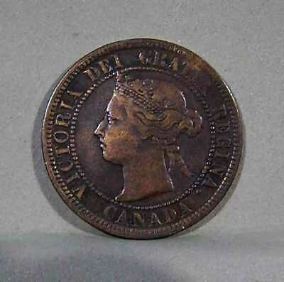 1891 Small Date/Small Leaves CANADIAN LARGE CENT, Fine