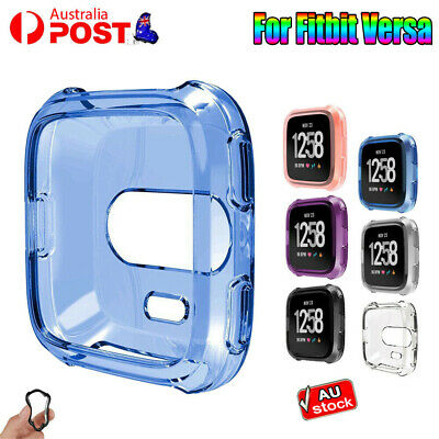 Soft Silicone TPU Shell Case For Fitbit Versa Screen Protector Frame Cover