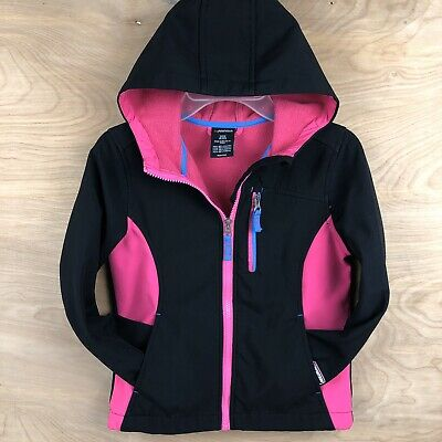 Mountain Xpedition Girls Size 6 Black Pink Fleece Lined Hooded Zip Up Jacket