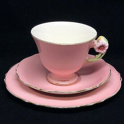 Vintage Royal Winton Made England Pink Petunia Plate Cup and Saucer 1930's Trio