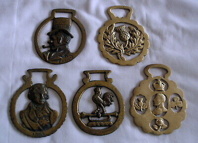 Five Antique Brass Horse Decorations For Their Straps - Martingale