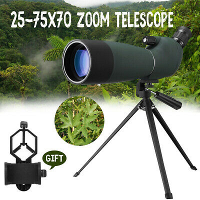 25-75X70 Waterproof Phone Spotting Scope Telescope Bird Watching + Tripod