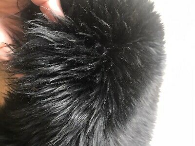 Vintage Super Soft Black Sheepskin Collar Stole Scarf