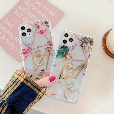 Gold Plating Flower Ring Hard Clear Case Cover For iPhone 11 Pro Max XS XR 8 7 6
