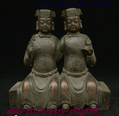 """10"""" Collect Antique China Copper Bronze Double People Tongzi Boy God Pair Statue"""