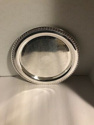 """Leonard 12 1/4"""" Round Silver Plate Tray, Ornate Detailing"""