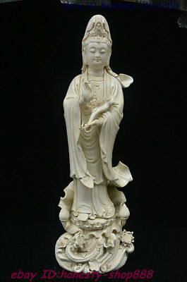 China Porcelain Lotus Flower Kwan-yin Ruyi Guan Yin Boddhisattva Goddess Statue