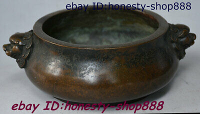 A Xuande Dynasty Bronze Lion Beast Head Incense Burner Censer Incensory Thurible