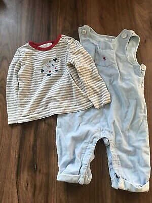Little White Company Boys 3-6 Months Dungarees And T Shirt Space Bundle