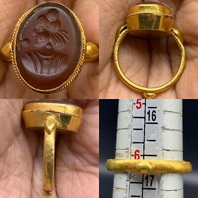 RARE ANCIENT ROMAN GREEK HIGH CARAT GOLD RING WITH CARNELIAN KING FACE 7.4gr