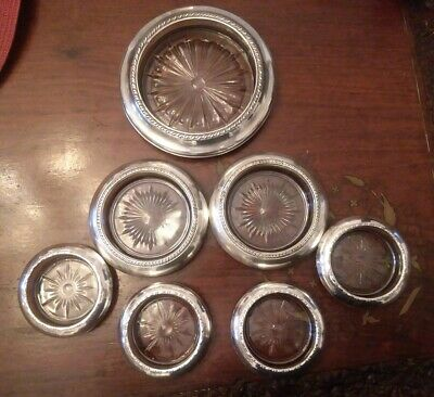 Sterling Silver Rim & Glass Drink Coasters/ dishes AMSTON LABEN WALLACE