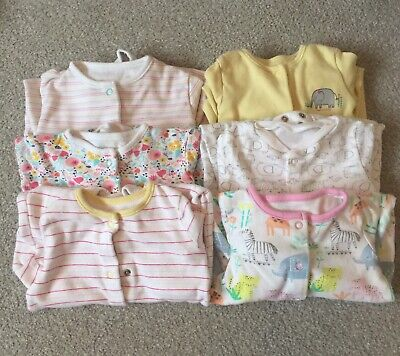 Pink And Lemon Baby Girls Babygrow Sleepsuits Bundle Age Up To 3 Months