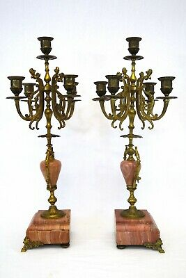Antique Pair of French Style Marble & Brass Candelabras   Circa Early 1900's